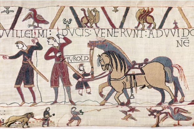 Fig 10: the depiction of a vassal and jester of Odo of Bayeux as a dwarf looks likely to be an in-joke, says George Garnett. (© Bayeux Museum)