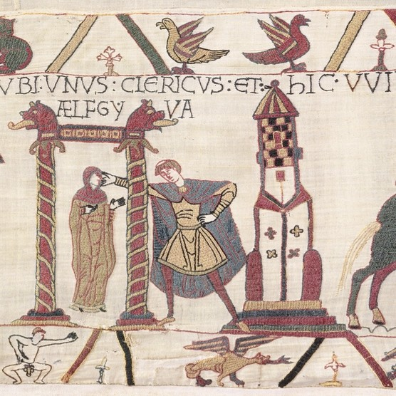 Fig 9: a naked male figure appears immediately beneath one of the Bayeux Tapestry's enduring mysteries – a scene in which an unidentified priest is shown harassing a woman named Ælfgyfa. (© Bayeux Museum)