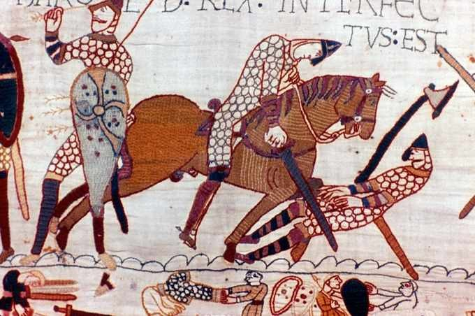 A scene depicted on the 11th-century Bayeux Tapestry. (Photo by: Universal History Archive/UIG via Getty Images)