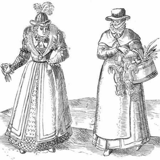 English countrywoman (right) with a lady of the court. From 'Civitates Orbis Terrarum', 1572. (Photo by Ann Ronan Pictures/Print Collector/Getty Images)