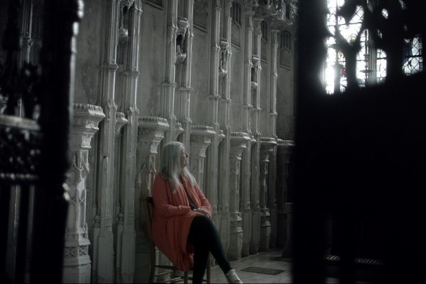 """There's nothing more exciting than live-tweeting through a television programme you've made,"" says Mary Beard. Here, Beard sits inside Ely Cathedral during an episode of 'Civilisations'. (Image credit: BBC/Nutopia)"