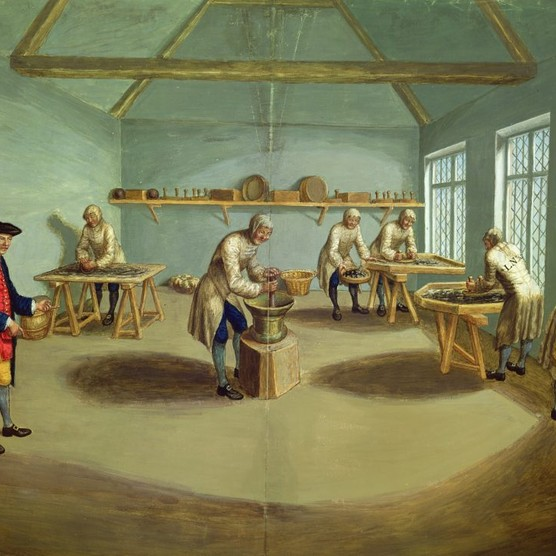 """A c1750 watercolour shows workers """"mixing the powder"""" at Woolwich Arsenal. """"The institutions that made up the 18th-century British 'state' existed entirely to provide the resources for war,"""" argues Priya Satia. (Photo by Bridgeman Art Library)"""
