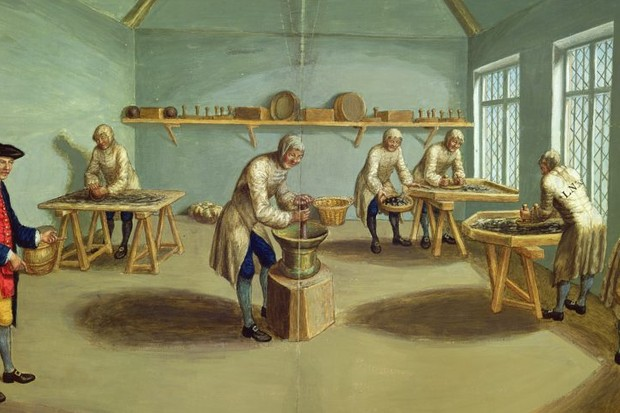 "A c1750 watercolour shows workers ""mixing the powder"" at Woolwich Arsenal. ""The institutions that made up the 18th-century British 'state' existed entirely to provide the resources for war,"" argues Priya Satia. (Photo by Bridgeman Art Library)"