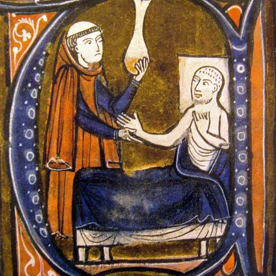 A doctor examines a patient's urine in an illustration from the 13th  century. Uroscopy,
