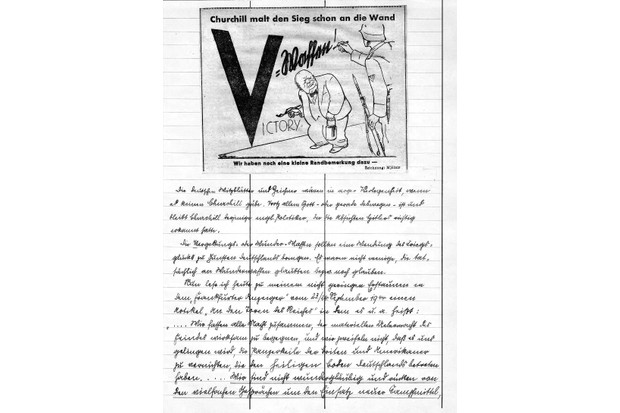 Kellner's diary entry for 22 September 1944, which includes a Winston Churchill cartoon from a German newspaper. Click to expand. (Photo from Kellner family archive)
