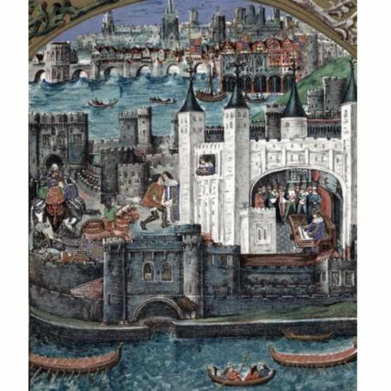 The blue-robed Henry VII pictured performing a variety of tasks at the Tower of London following his accession to the throne, in a contemporary illustration. (Universal History Archive/Getty Images)