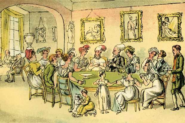 By the time George II came to the throne in 1727, Britain was a nation addicted to gaming. A Georgian gaming table is shown in this sketch by Thomas Rowlandson. (Photo by Culture Club/Getty Images)