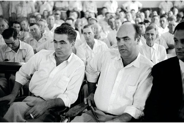 The accused: Roy Bryant and JW Milam during their trial in September 1955. The all-white jury acquitted both defendants after deliberating for just over an hour. (Photo by Getty Images)