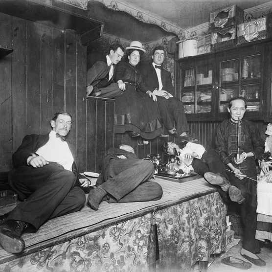 A New York opium den. Although US legislators cracked down on opiates in the early 20th century, organised crime networks continued to fuel the illegal trade in narcotics. (Photo by Getty Images)