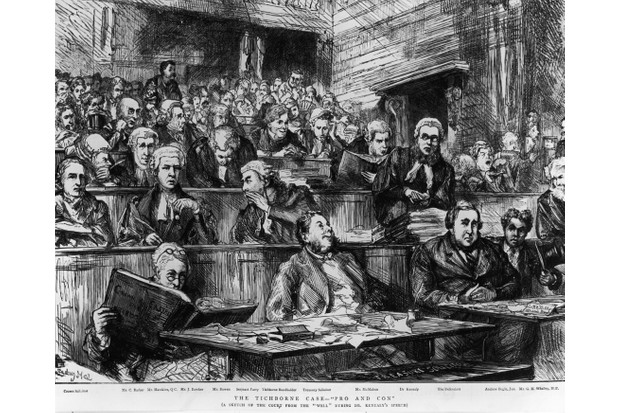 A sketch of the court during the second Tichborne Trial, c1874. Butcher Arthur Orton, also known as Thomas Castro, stood trial for perjury having been convicted of fraud after claiming to be the heir to the Baronetcy of Tichborne. (Photo by Hulton Archive/Getty Images)
