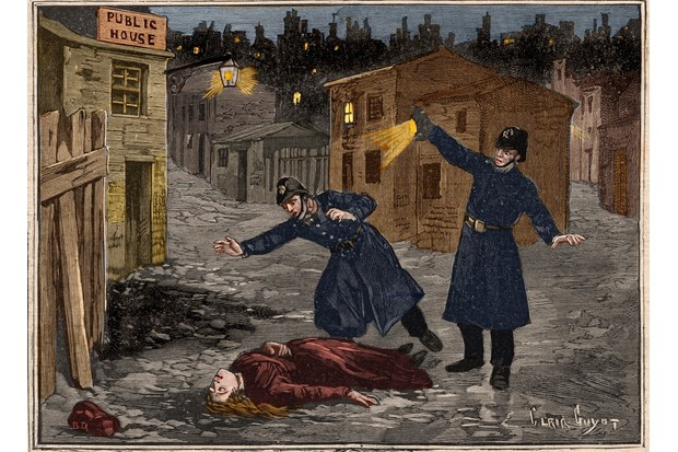 Police discover the body of one of Jack the Ripper's victims, in an illustration from the French newspaper 'Le Petit Parisien', 1891. (Photo by Getty Images)
