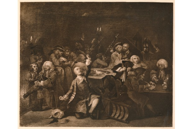 A depiction of a chaotic scene at a Georgian gambling house from William Hogarth's series of paintings entitled 'A Rake's Progress'. The central figure Tom Rakewell has just lost his wife's fortune and falls to his knees. (Photo by The Print Collector/Print Collector/Getty Images)