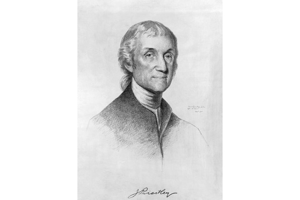 Joseph Priestley (1733-1804), an English clergyman, chemist and author who discovered oxygen while conducting experiments on different 'airs'. (Photo by CORBIS/Corbis via Getty Images)