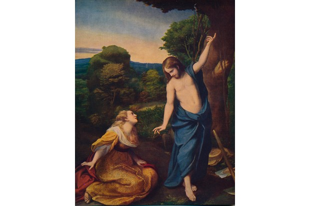 """A painting titled 'Noli Me Tangere' in which Christ reveals himself to Mary Magdalene. Noli me tangere, which translates as """"do not touch me"""" or """"do not cling to me"""" is the Latin version of words spoken, according to John 20:17, by Jesus to Mary Magdalene when she recognised him after his resurrection. Held in the Museo del Prado, Madrid. (Photo by The Print Collector/Getty Images)"""