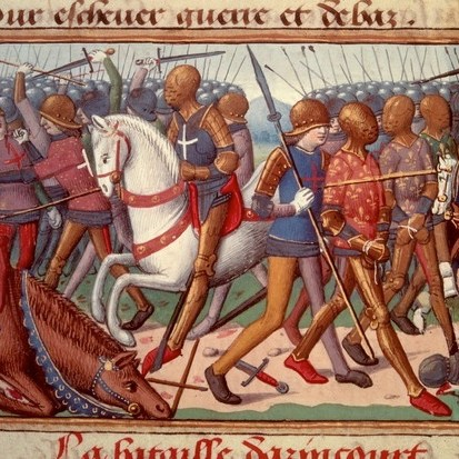 A 15th-century depiction of the battle of Agincourt. Anne Curry says that the English victory was soon forgotten, only for its importance to be revived in later centuries thanks to Shakespeare and further conflict with France. (Photo by: Christophel Fine Art/UIG via Getty Images)