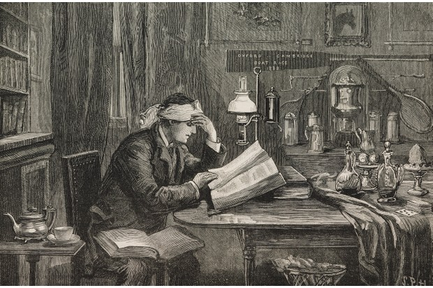 An essential part of university is the opportunity to meet new people, says George, and you can't do this from your room. In this illustration from magazine The Graphic, c1882, a college student studies at Oxford. (Image by Getty Images)