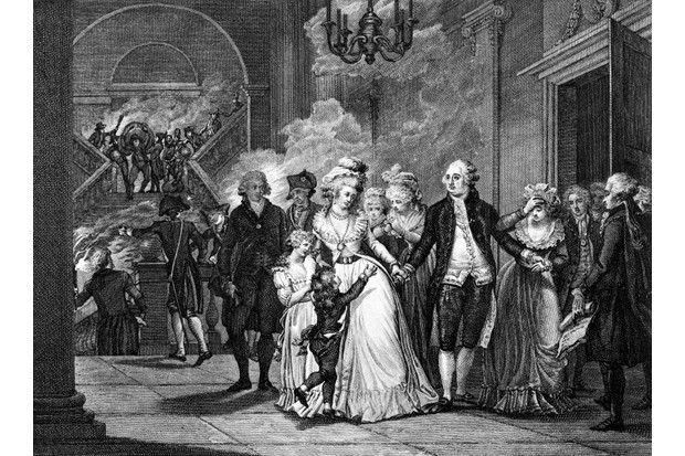 King Louis XVI bids farewell to family and Marie Antoinette before being led to a guillotine.(Photo by Charles Phelps Cushing/ClassicStock/Getty Images)