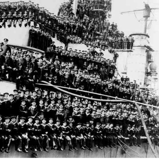 The crew of SMS King in its home port following the battle of the Skagerrak, June 1916. (Photo by A Renard/ullstein image via Getty Images)