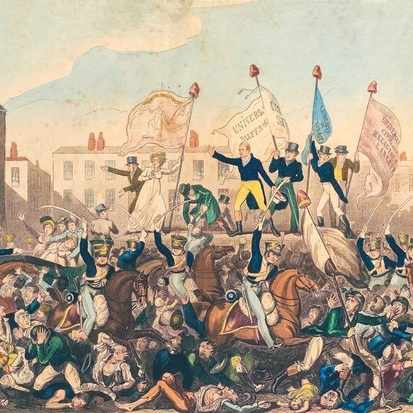 Cavalry charge into a crowd of protesters at St Peter's Field, Manchester, as depicted in an 1819 engraving. What followed was the worst violence ever to occur at a political meeting in Britain. (Picture by Alamy)