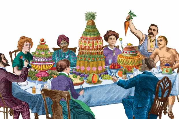 Intellectuals, dieting businessmen, Indian students and fitness fanatics were among those to exhort the benefits of a meat-free diet in the 19th century, as shown in our illustration. (Illustration by Femke de Jong for BBC History Magazine)