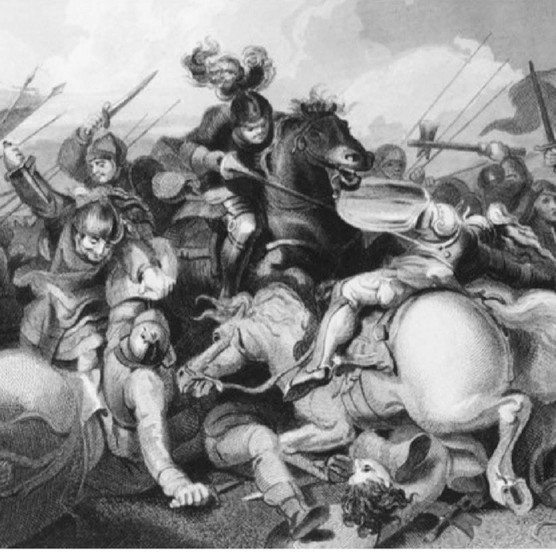 Richard III's Yorkist troops fight Lancastrians in the battle of Bosworth, during the Wars of the Roses, 22 August 1485. King Richard was killed by Henry of Richmond, who became Henry VII. Engraving after Philip James de Loutherbourg. (Photo by Hulton Archive/Getty Images)