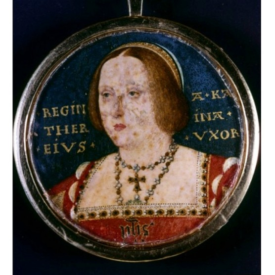 Katherine of Aragon by artist Lucas Horenbout [or Hornebolte] (c1490-1544). (Photo by Ann Ronan Pictures/Print Collector/Getty Images)