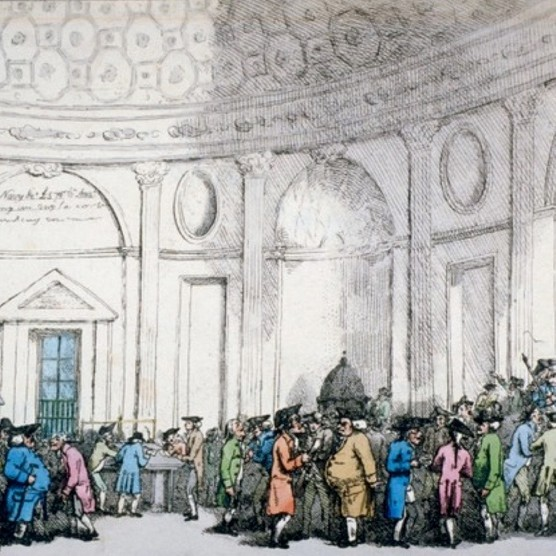 The Bank of England in a late 18th century illustration. A 1783 investigation into malpractice at the Bank is reminiscent of the current financial crisis. (Guildhall Library & Art Gallery/Heritage Images/Getty Images)
