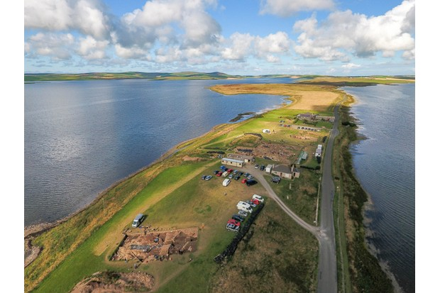 An aerial view of the Ness of Brodgar, an archaeological site located on the archipelago of Orkney. (Photo by Ness of Brodgar Trust)
