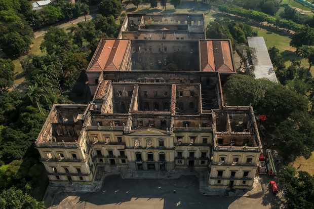 Brazil's oldest museum was gutted by a fire that destroyed most of the 20 million artefacts it housed. (Photo by Buda Mendes/Getty Images)