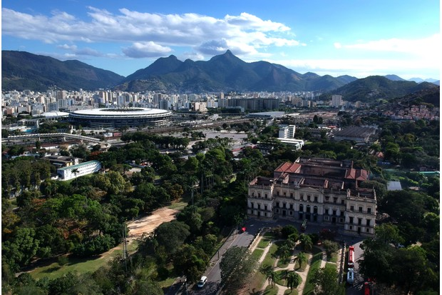 A view of Rio de Janeiro's National Museum, two days after a massive fire ripped through the building. (Photo by Mauro Pimentel/AFP/Getty Images)