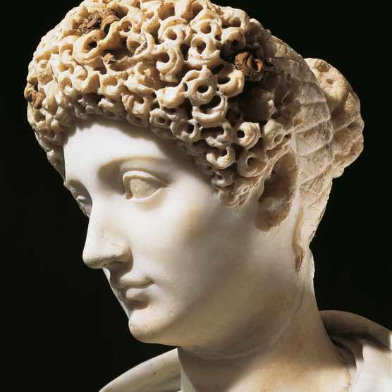 UNSPECIFIED - CIRCA 1999:  Roman civilization, 1st century b.C. Marble bust of Julia (39 b.C.-14 A.D.), daughter of Emperor Augustus, wife of Marcellus, Agrippa and Tiberius. Detail, face.  (Photo By DEA PICTURE LIBRARY/De Agostini/Getty Images)