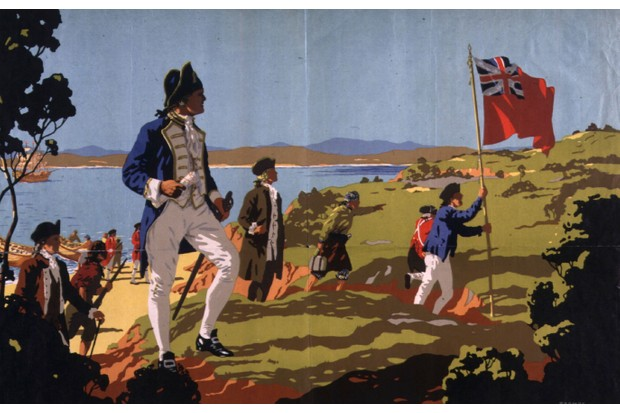 A travel poster for Australia depicts Captain Cook landing with crew at Botany Bay in 1770. (Photo by Hulton Archive/Getty Images)