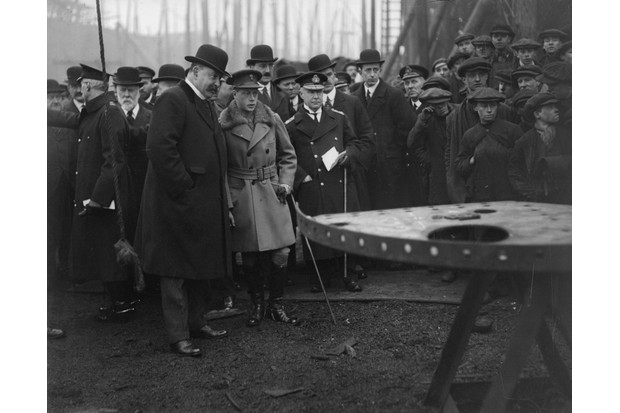 The Prince of Wales, later Edward VIII, visits a shipyard in Clydeside, Scotland. (Photo by Topical Press Agency/Getty Images)