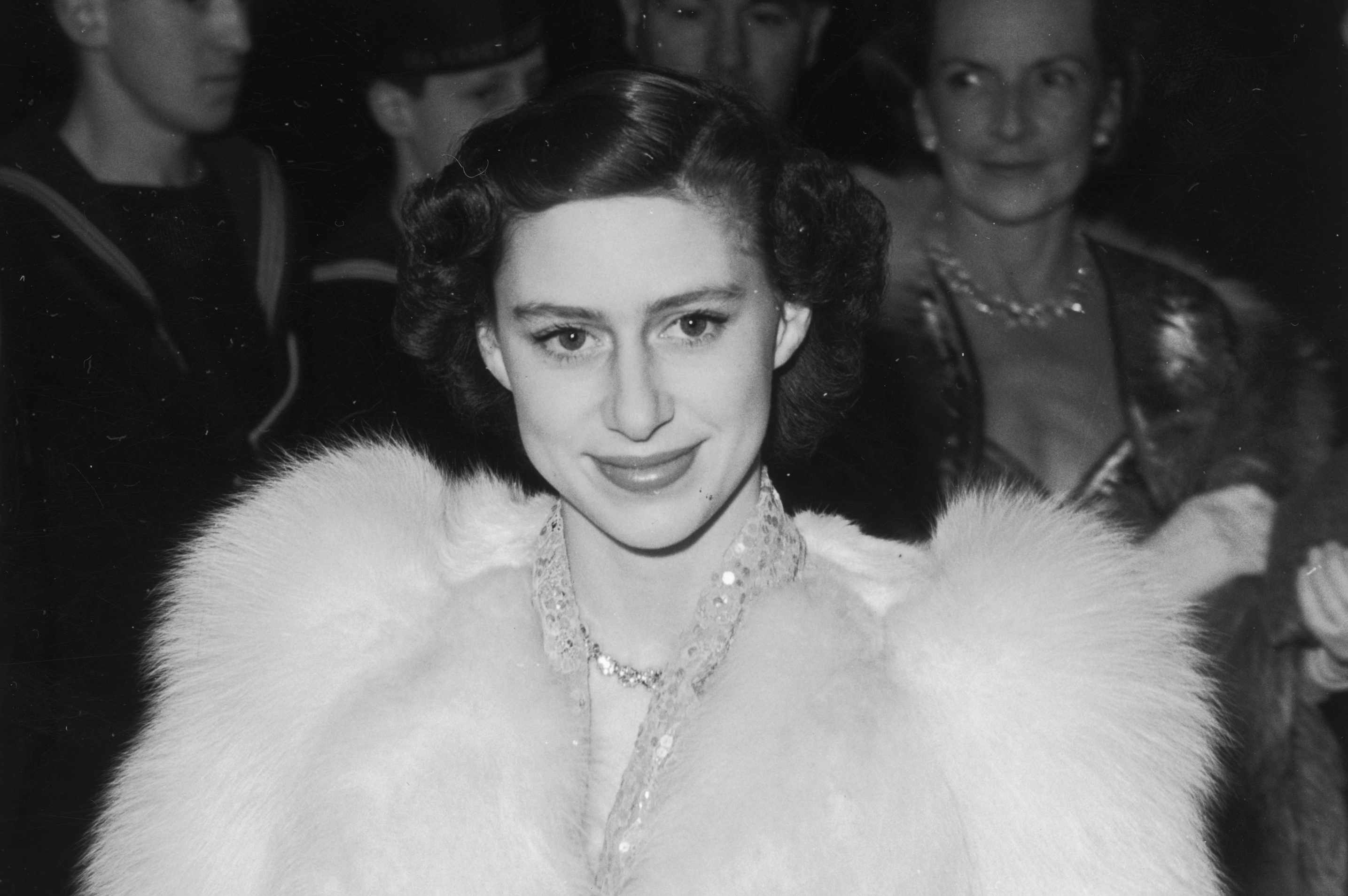 Princess Margaret attends the premiere of Captain Horatio Hornblower, Leicester Square, 1951. (Photo by Ron Burton/Keystone/Getty Images)