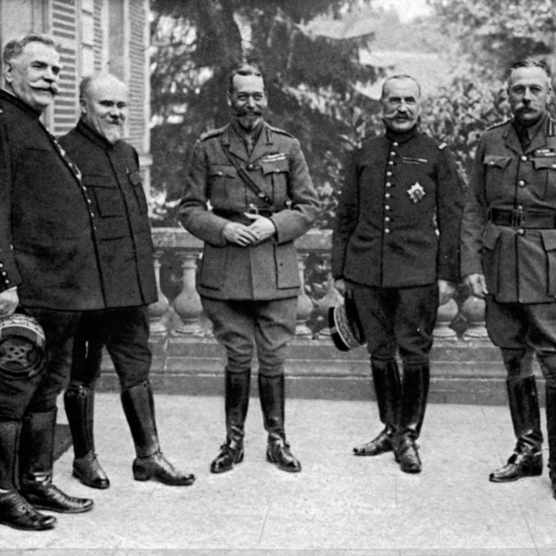 The commanders of the French and British forces during World War I pose for a portrait, France, 1918. Left to right, French General Joseph Joffre (1852 - 1931), French President Raymond Poincare (1860 - 1934), British King George V (1865 - 1936), French General Ferdinand Foch (1851 - 1929), and Scottish General Douglas Haig (1861-1928). (Mansell/The LIFE Picture Collection/Getty Images)