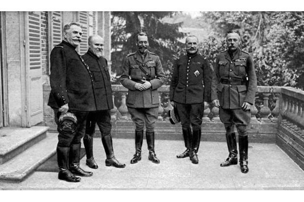 The commanders of the French and British forces photographed during 1918. Left to right, General Joseph Joffre, French president Raymond Poincaré, King George V, General Ferdinand Foch, and General Douglas Haig. (Mansell/The LIFE Picture Collection/Getty Images)