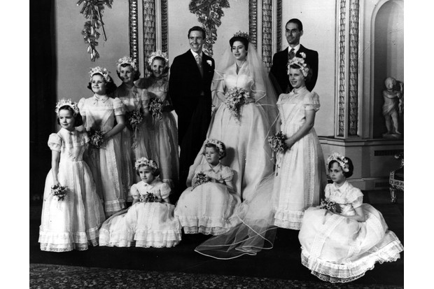 6th May 1960: The bridal group at Buckingham Palace at the wedding of Princess Margaret and Antony Armstrong-Jones. (Photo by Central Press/Getty Images)