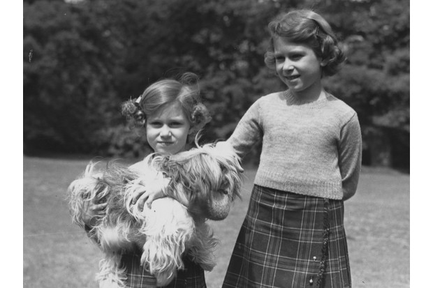c1936: Queen Elizabeth II (as Princess Elizabeth) and her younger sister Princess Margaret in the grounds of the Royal Lodge, Windsor. (Photo by Lisa Sheridan/Studio Lisa/Getty Images)