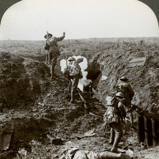 British soldiers attacking the Hindenburg Line, World War I, 1917-1918. Soldiers bombing Germans out of their deep dug-out with grenades. The Hindenburg Line was a vast system of defences built on the Western Front by the Germans in the winter of 1916-1917. It extended from Lens in the north to beyond Verdun and was believed by the German High Command to be impregnable. In fact British and Newfoundland forces using tanks briefly broke through the line at Cambrai in 1917, and it was breached in several places in September 1918 during the Allied Hundred Days Offensive. Stereoscopic card detail. (Photo by The Print Collector/Print Collector/Getty Images)
