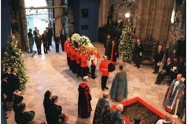 The funeral of Diana, Princess of Wales, took place at Westminster Abbey on 6 September 1997. (Photo by Ken Goff/The LIFE Images Collection/Getty Images)