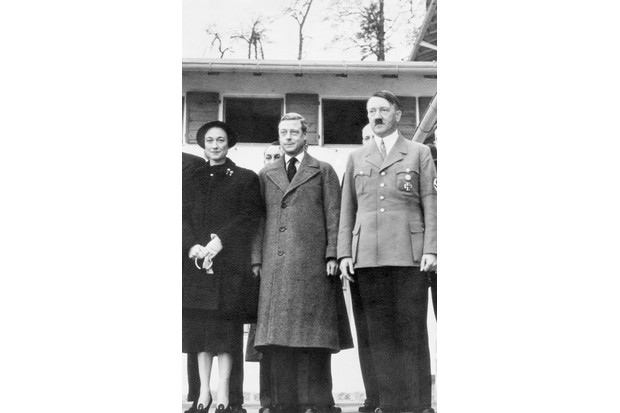 Much has been made of Edward's Nazi sympathies, and his posthumous reputation has suffered badly as a result. Here the Duke and Duchess of Windsor are photographed with Adolf Hitler in 1937. (Image by Bettmann/Getty Images)