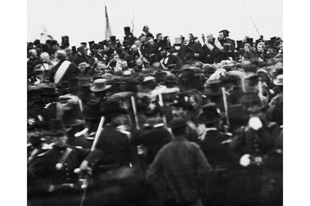 A photo of Abraham Lincoln (centre, bareheaded) giving the Gettysburg Address in 1863. (Picture by Bettmann/Getty Images)