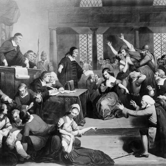 (Original Caption) Trial of George Jacobs for witchcraft in 1692.