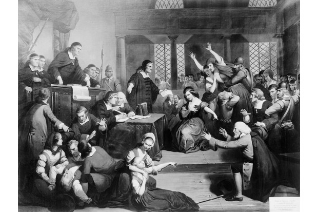 A depiction of the trial of George Jacobs for witchcraft in Salem, Massachusetts, 1692. (Photo by Bettmann/Getty Images)