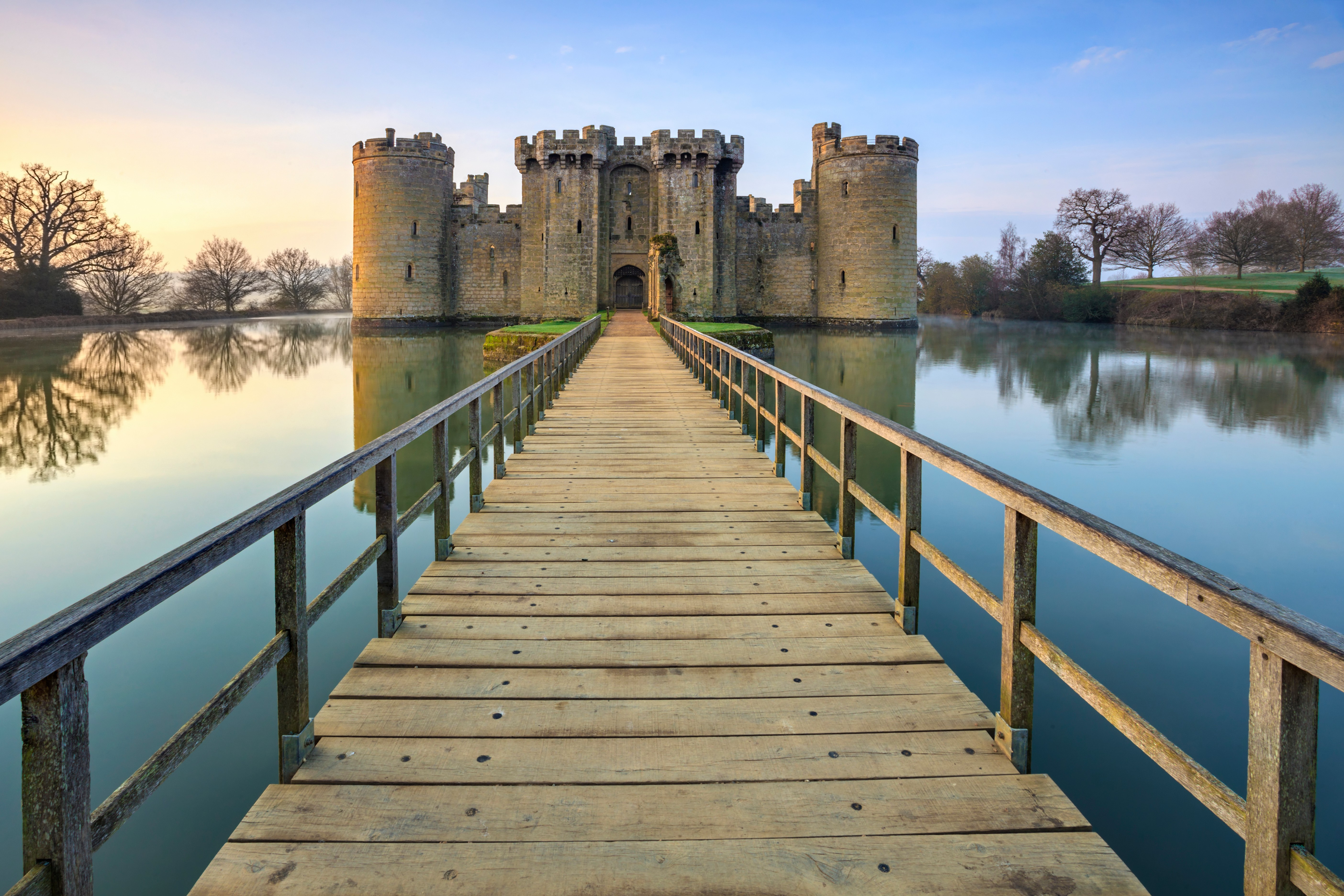 """The entrance to Bodiam Castle. """"If any castle conjures up the 'romance' of the mediaeval world, this is it,"""" says Michael Smith. (Photo by Andrew Ray/LOOP IMAGES via Getty Images)"""