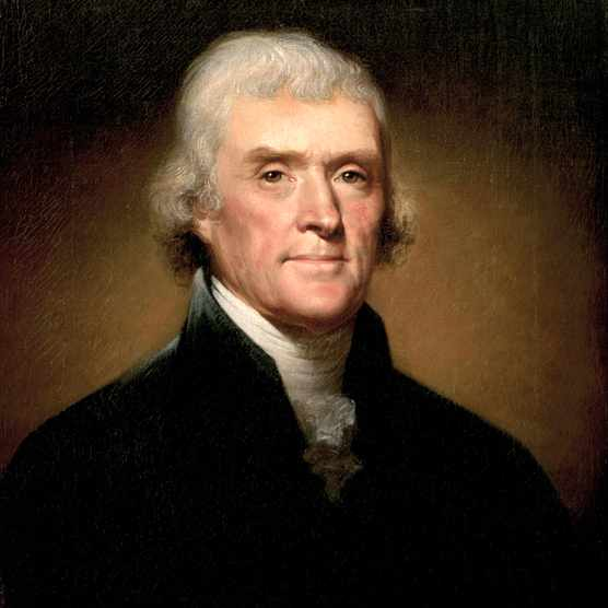 A portrait of Thomas Jefferson by Rembrandt Peale. (Photo by GraphicaArtis/Getty Images)