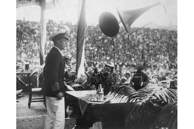 Edward, Prince of Wales, gives a speech in San Diego during a royal visit to America, 1920. (Photo by Central Press/Hulton Archive/Getty Images)