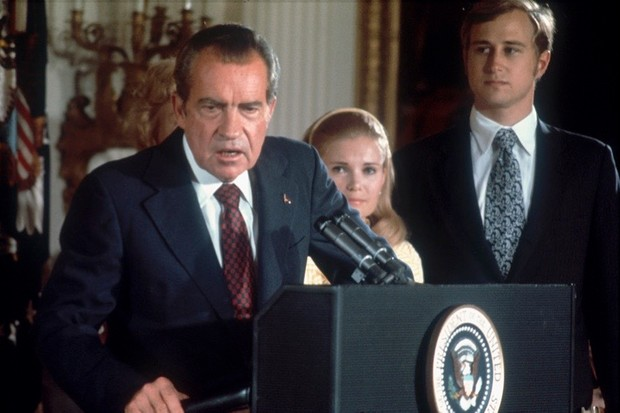Richard Nixon announces his resignation from the White House, 9 August 1974. Nixon resigned less than two years into his second term, before his near-certain impeachment following the Watergate scandal. (Photo by Dirck Halstead/Liaison via Hulton Archive/Getty Images)