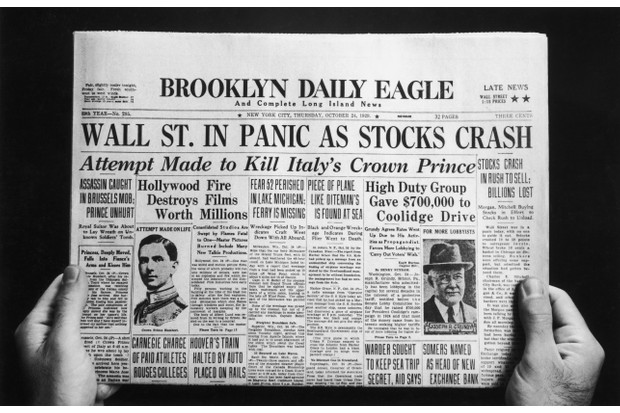 The front page of the Brooklyn Daily Eagle newspaper with the headline 'Wall St. In Panic As Stocks Crash', published on the day of the initial Wall Street Crash of 'Black Thursday', 24 October 1929. (Photo by FPG/Hulton Archive/Getty Images)