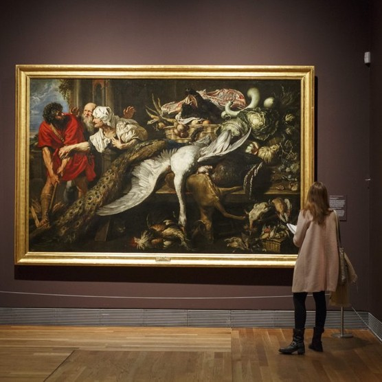 A woman looks at 'The Recognition of Philopoemen', c1609 by Flemish painter Peter Paul Rubens at the Museo del Prado, Madrid. (Photo by Pablo Blazquez Dominguez/Getty Images)